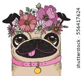 Stock vector a quirky drawing of a pug wearing a flower crown sketchy vector illustration 556417624