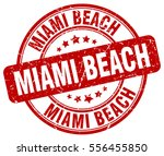 miami beach. stamp. red round... | Shutterstock .eps vector #556455850