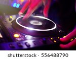 dj playing music at mixer... | Shutterstock . vector #556488790