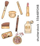 hand drawn colorful cosmetics... | Shutterstock .eps vector #556489348