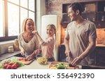 cute little girl and her... | Shutterstock . vector #556492390