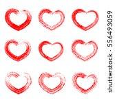 grunge hearts set. | Shutterstock .eps vector #556493059