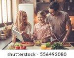 cute little girl and her... | Shutterstock . vector #556493080