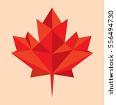 a low polygon style maple leaf... | Shutterstock .eps vector #556494730