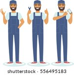 young confident handyman... | Shutterstock .eps vector #556495183