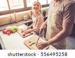 cute little girl and her... | Shutterstock . vector #556495258