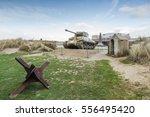 american tank on utah beach ...   Shutterstock . vector #556495420