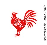 red rooster on white background | Shutterstock .eps vector #556507024