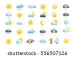 30 weather icons on white... | Shutterstock .eps vector #556507126