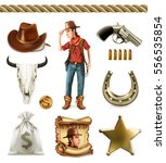 cowboy cartoon character and... | Shutterstock .eps vector #556535854