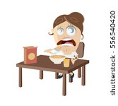 clipart of a woman eating her... | Shutterstock .eps vector #556540420
