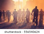 silhouettes of many people on... | Shutterstock . vector #556540624