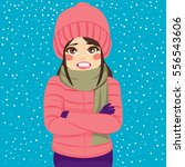 woman shivering in cold winter... | Shutterstock .eps vector #556543606