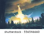 rocket launch take off from an... | Shutterstock . vector #556546660