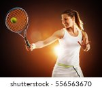 tennis female player hitting... | Shutterstock . vector #556563670