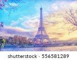 eiffel tower at sunset in paris ...   Shutterstock . vector #556581289