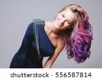 colored hairstyle. portrait of...