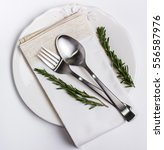 beautiful plate  spoon and fork ... | Shutterstock . vector #556587976