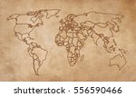 world map on an old piece of...   Shutterstock .eps vector #556590466