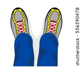 legs in sports shoes the top... | Shutterstock .eps vector #556590478