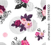 romantic seamless pattern with... | Shutterstock .eps vector #556598320