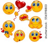 set of romantic 3d smiley faces ... | Shutterstock .eps vector #556598803