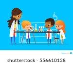 female teacher demonstrates... | Shutterstock .eps vector #556610128