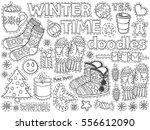 winter time doodles set.... | Shutterstock .eps vector #556612090