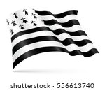 Stock vector vector gwen ha du black and white flag of brittany waving on wind 556613740