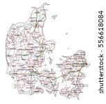 denmark road and highway map.... | Shutterstock .eps vector #556618084