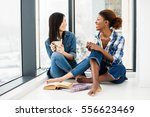 two close friends of different... | Shutterstock . vector #556623469