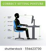 ergonomics. correct sitting... | Shutterstock .eps vector #556623730