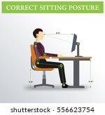 ergonomics. correct sitting...   Shutterstock .eps vector #556623754