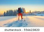 snowshoe walker running in... | Shutterstock . vector #556623820
