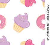 seamless pattern with sweets  ... | Shutterstock .eps vector #556633420