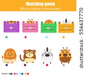 Stock vector match the animals with box children education game learning animals theme kids activity 556637770