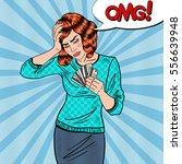pop art upset woman with credit ... | Shutterstock .eps vector #556639948