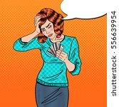 pop art upset woman with credit ...   Shutterstock .eps vector #556639954
