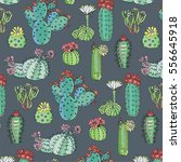 cactus with flowers pattern | Shutterstock .eps vector #556645918