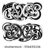 maori tribal tattoo set | Shutterstock .eps vector #556653136