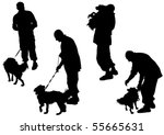 Stock vector vector image of man with a dog on a leash 55665631