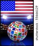 flag globe on usa stadium... | Shutterstock .eps vector #55666129