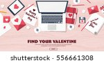 flat background with paper ... | Shutterstock .eps vector #556661308