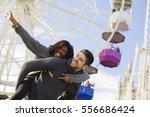 young couple enjoy a day in the ... | Shutterstock . vector #556686424