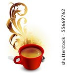 cup of coffee with ornate... | Shutterstock .eps vector #55669762