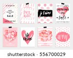 Stock vector collection of pink black white colored valentine s day card sale and other flyer templates with 556700029