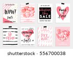 Collection of pink, black, white colored Valentine's day card, sale and other flyer templates with lettering.  Typography poster, card, label, banner design set. Vector illustration EPS10 | Shutterstock vector #556700038