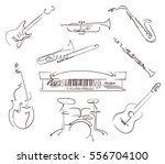 set of musical instruments... | Shutterstock .eps vector #556704100