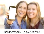 front view of two happy friends ... | Shutterstock . vector #556705240