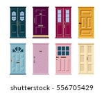 vector set of colorful door... | Shutterstock .eps vector #556705429